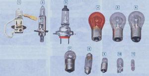 Лампы, применяемые в автомобиле Шевроле Нива.
