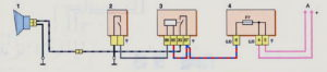 Схема включения звукового сигнала (до 2009 г.) Шевроле Нива.