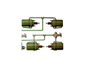 Схема работы стояночного и вспомогательного тормозов КамАЗ-4350.