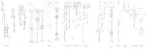 Схема соединений переключателя корректора фар, плафона спального места, датчика скорости, электрообогрева зеркал, реле нагревателей КамАЗ-65111.