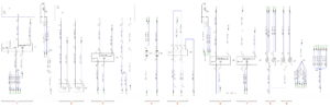 Схема соединений противотуманных фар и фонаря, электродвигателя отопителя, плафонов кабины КамАЗ-65111.