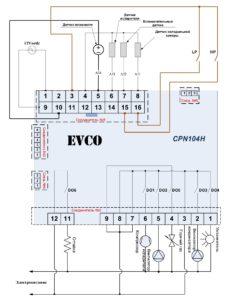 Схема подключения контроллера CPN104H (Evco).