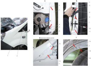 Снятие и установка переднего крыла ГАЗель Next 4.6т.