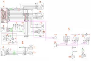 Схема электрическая принципиальная системы отопления (отопителя, дополнительного отопителя, кондиционера, предпускового подогревателя/догревателя) ГАЗель Next 4.6т.