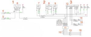 Схема электрическая принципиальная звуковых сигналов, прикуривателя, розеток, магнитолы, обогрева сиденья водителя, блокируемого дифференциала ГАЗель Next 4.6т.