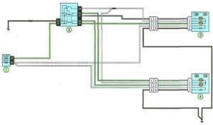 Схема включения зеркал заднего вида Рено Дастер с 2011 года.