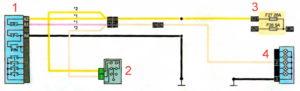 Схема подключения фонаря света заднего хода Рено Дастер 2017 год.