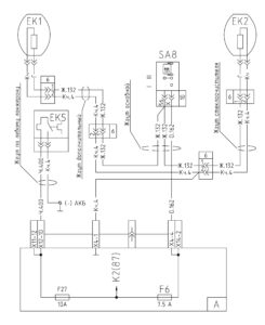 Схема подключения обогрева зеркал и осушителя воздуха МАЗ-5440E9, 5340E9, 6310E9, 6430E9 с двигателем Mercedes OM501LAV/4 (Евро-5).