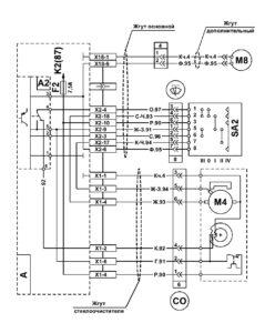 Схема управления стеклоочистителем и стеклоомывателем МАЗ 5340M4, 5550M4, 6312М4 (Mercedes, Евро-6).