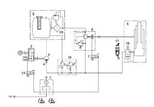 Схема механизма подъёма платформы МАЗ 5340M4, 5550M4, 6312М4 (Mercedes, Евро-6).