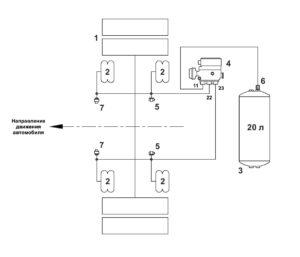 Схема подключения пневмоподвесок МАЗ 5340M4, 5550M4, 6312М4 (Mercedes, Евро-6).