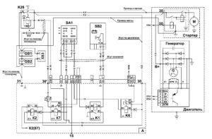 Схема электропитания МАЗ 5340M4, 5550M4, 6312М4 (Mercedes, Евро-6).