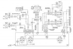Схема подключения системы сигнализации сигнала торможения, стояночного тормоза, заднего хода 631228-3700001 ЭЗ автомобилей МАЗ семейства 6430.