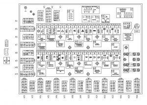 Расположение элементов блока коммутации БКА-3 МАЗ-544018, 643018,650118 (Евро-3), МАЗ-534019, 544019, 630119, 650119 (Евро-4) с двигателями Mercedes OM501LAIII/18, OM501LAIV/4.