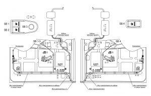 Расположение элементов электрооборудования в дверях 631228-3700001 ЭЗ автомобилей МАЗ семейства 6430.